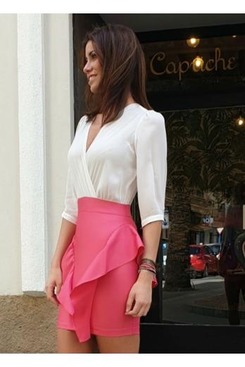 vestido comb/falda volantes