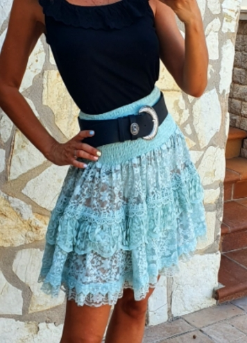 falda encaje azul