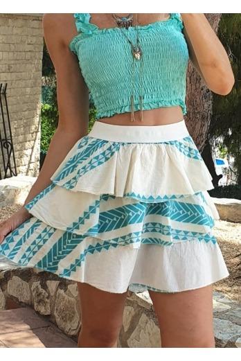 falda etnica azul