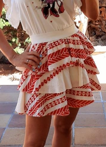 falda etnica roja