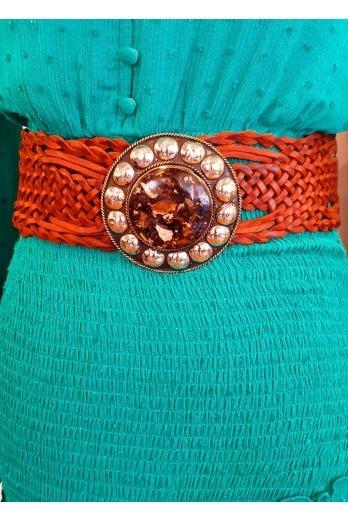 cinturón chapa tachuelas marrón oscuro