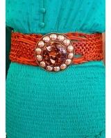 cinturón chapa redonda marrón oscuro