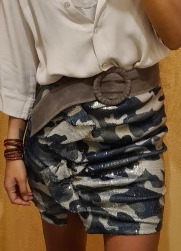Falda camo lentejuelas