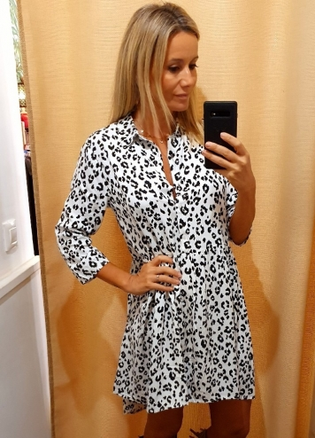 Vestido animal print blanco y negro