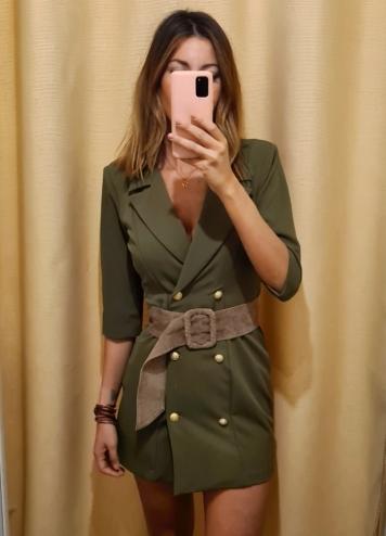 Vestido cruzado militar