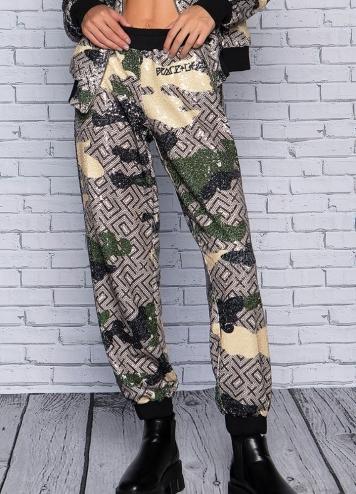 Camo sequin pants