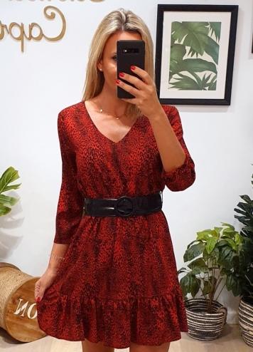 vestido leop rojo
