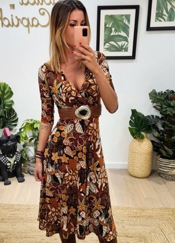 Vestido Velia flores marron