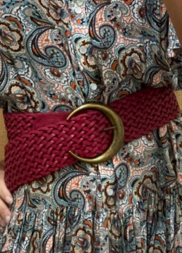 Cinturón Trenzado Media Luna Rojo