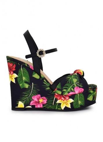 Sandalia Naomi Flower Black