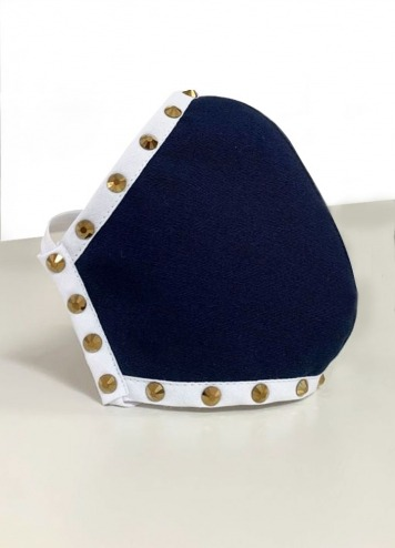 Mascarilla azul marino tachas doradas