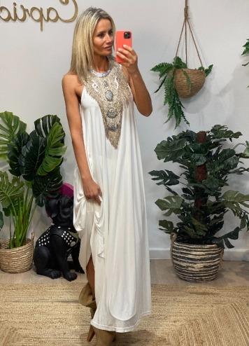 vestido largo modal blanco