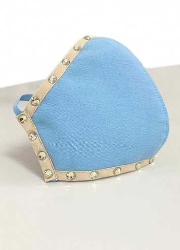 Mascarilla azul borde camel