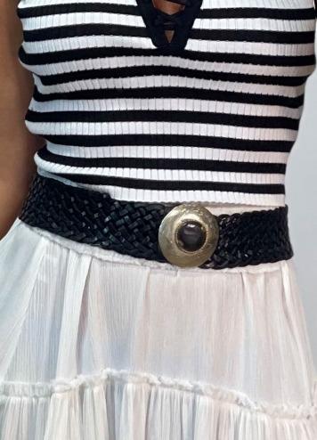 Cinturón trenzado chapa Negro
