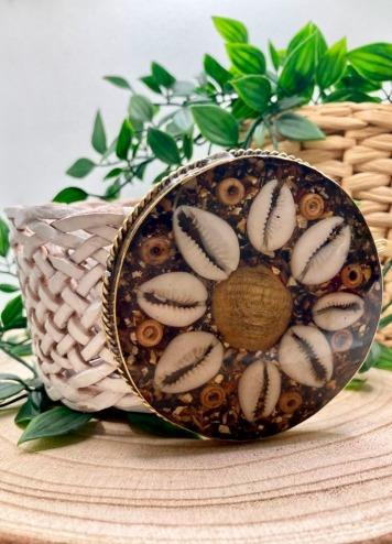 Cinturón Flor blanco Hebilla marrón