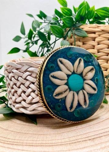 Cinturón Flor blanco Hebilla azul