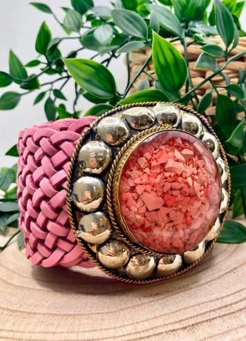 Cinturón Tachas Circular Rosa