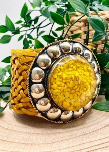Cinturón Tachas Circular Amarillo