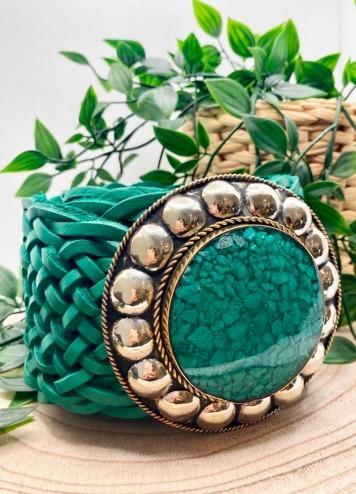 Cinturón Tachas Circular Verde