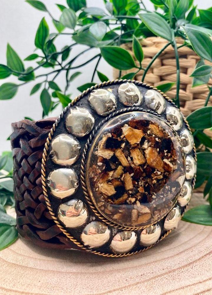 Cinturón Tachas Circular Marrón